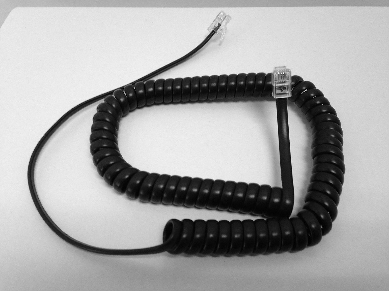 The VoIP Lounge 9 Foot Black Handset Receiver Curly Coil Cord for ESI DFP IVX SBP & SIP Phone 24-Key 48-Key 60D 30D 40D 60IP 45SIP 30SIP