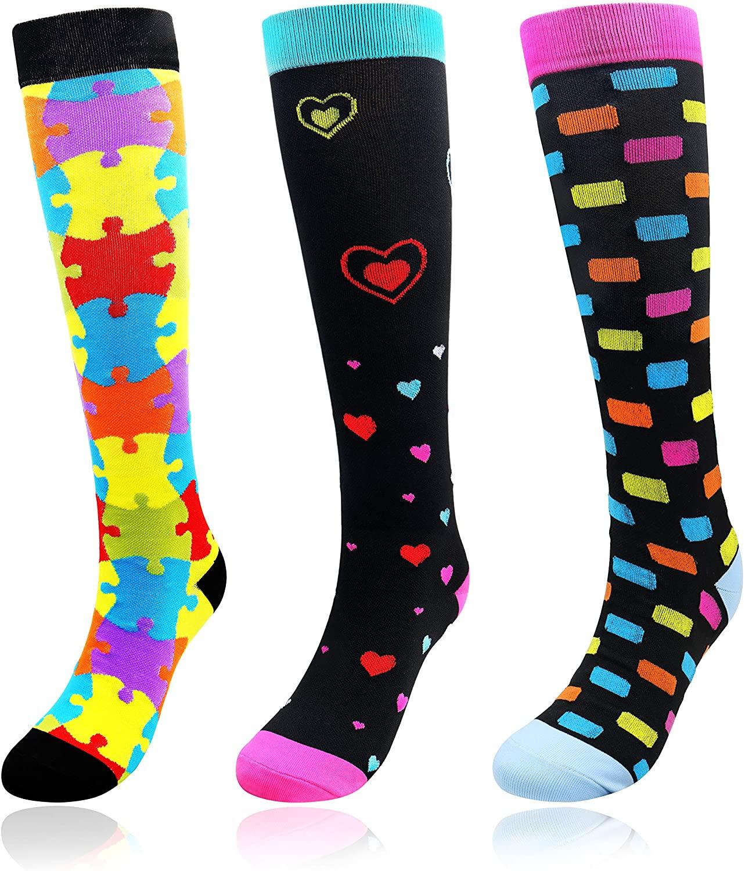 OCIA Compression Socks for Men & Women 15-20 mmHg 3 Pairs Graduated Athletic & Medical,Running,Flight Travel