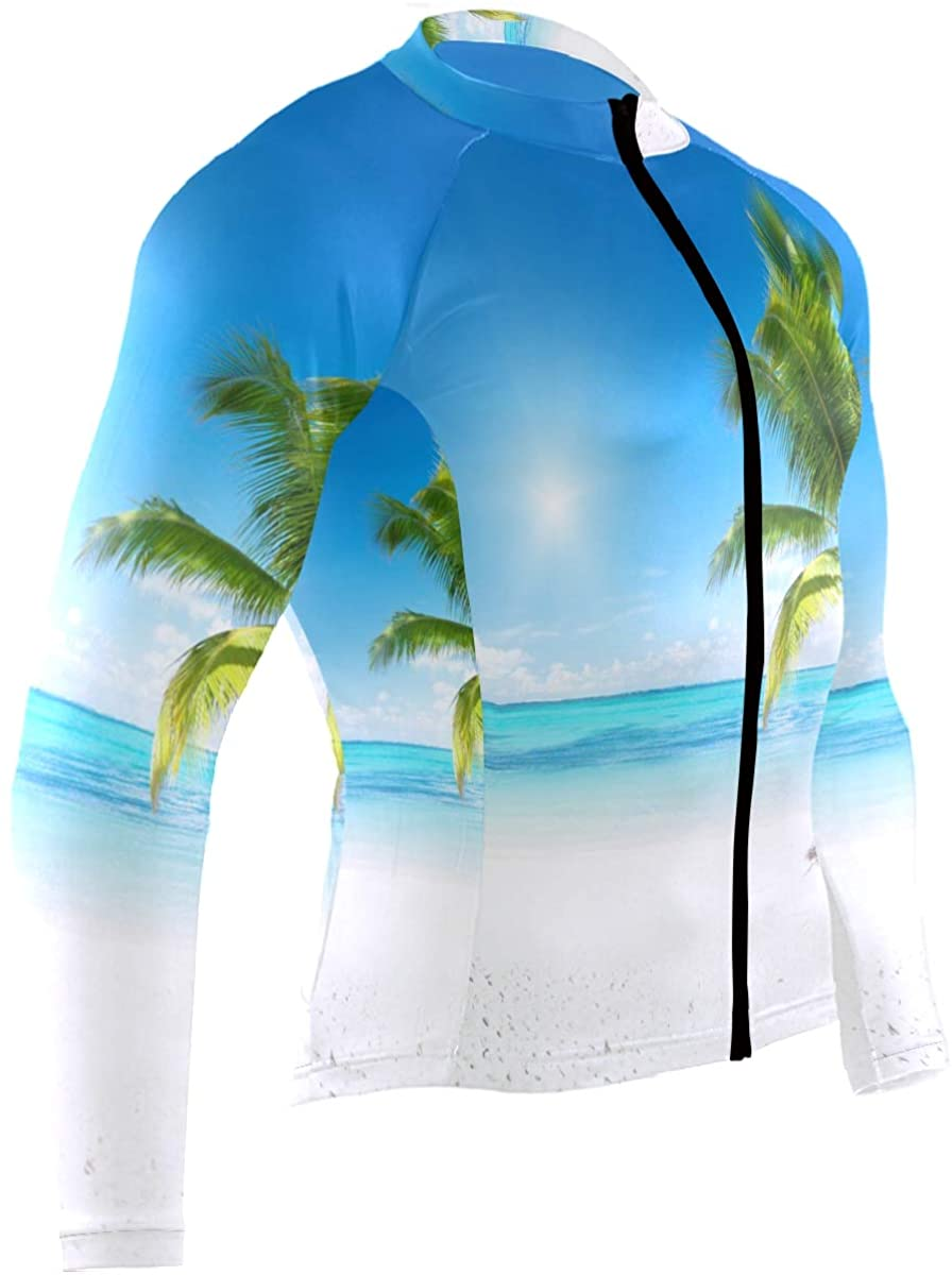 SLHFPX Palm Tree On Beach Summer Bright Blue Ocean Sky Mens Cycling Jersey Top Long Sleeve Outdoor Bike Apparel Outfit