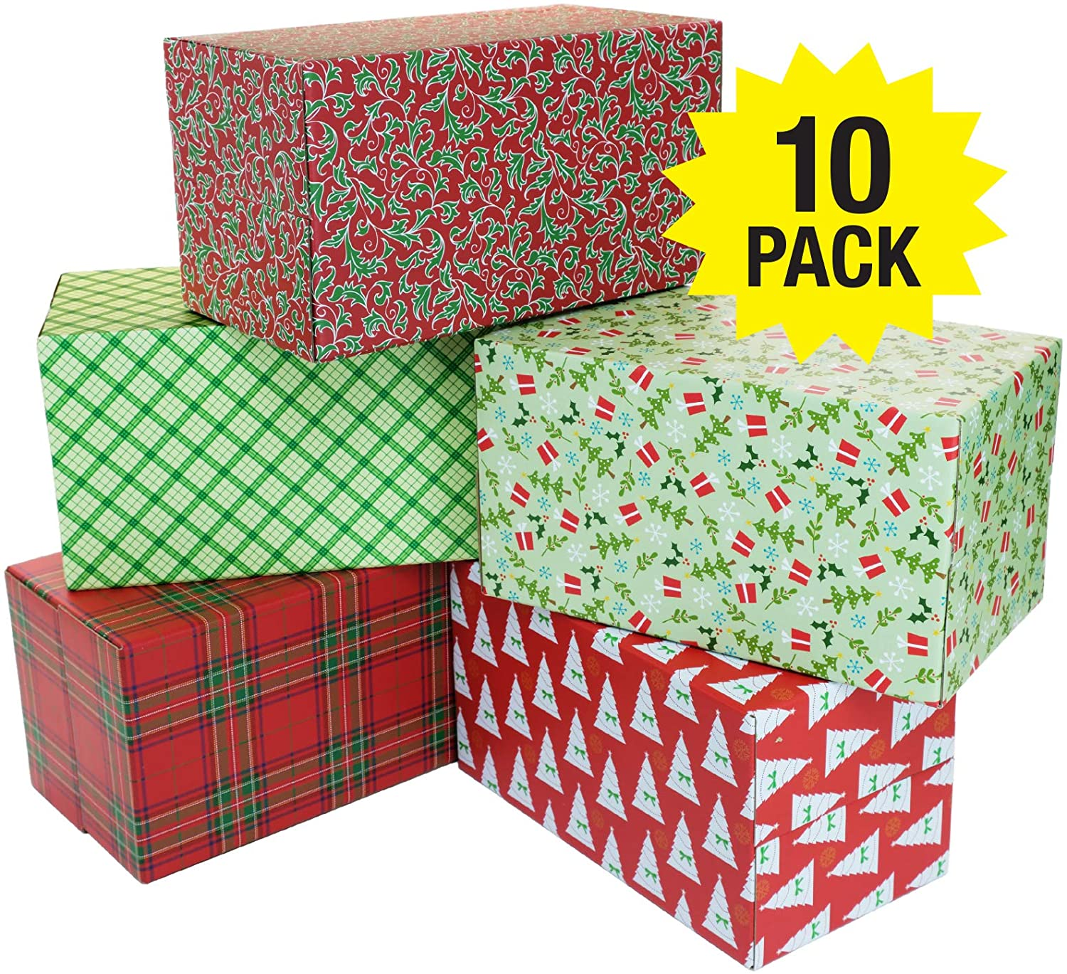 Holiday Gift Shipping Boxes (Pack of 10 - Assorted Patterns - 11.5