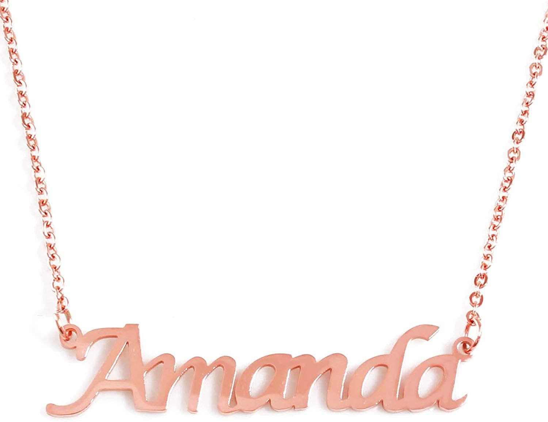Zacria Amanda Name Necklace - 18ct Rose Gold Plated
