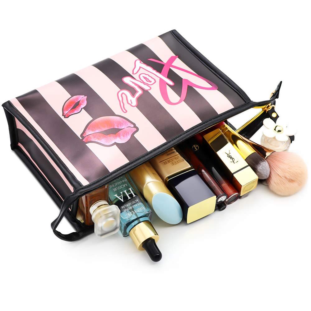 Makeup Bags Portable Cosmetic Case Small Make Up Bag Waterproof Organizer Case Cute Makeup Travel Bag for Women and Girls(Redlip Bags)