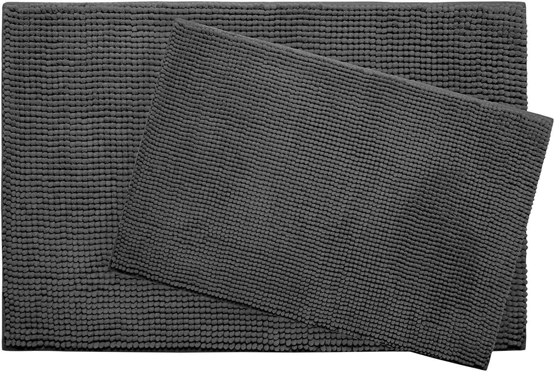 Plush Memory Foam Chenille with BounceComfort Technology 17x24 and 20x30 2-Piece Bath Mat Set, Dark Grey