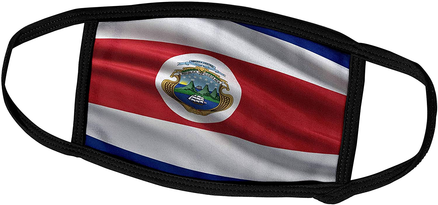 3dRose Carsten Reisinger - Illustrations - Flag of Costa Rica Waving in The Wind - Face Masks (fm_178745_1)