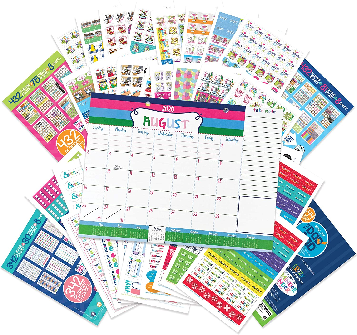 Reminder Binder 18-Month 2020-2021 Monthly Desk Calendar + Event Stickers Variety Set (Total of 1850 Stickers) with Tear-Off Lists, Scheduling Tools, Bill Pay Worksheet and More (Bundle of 2 Items)