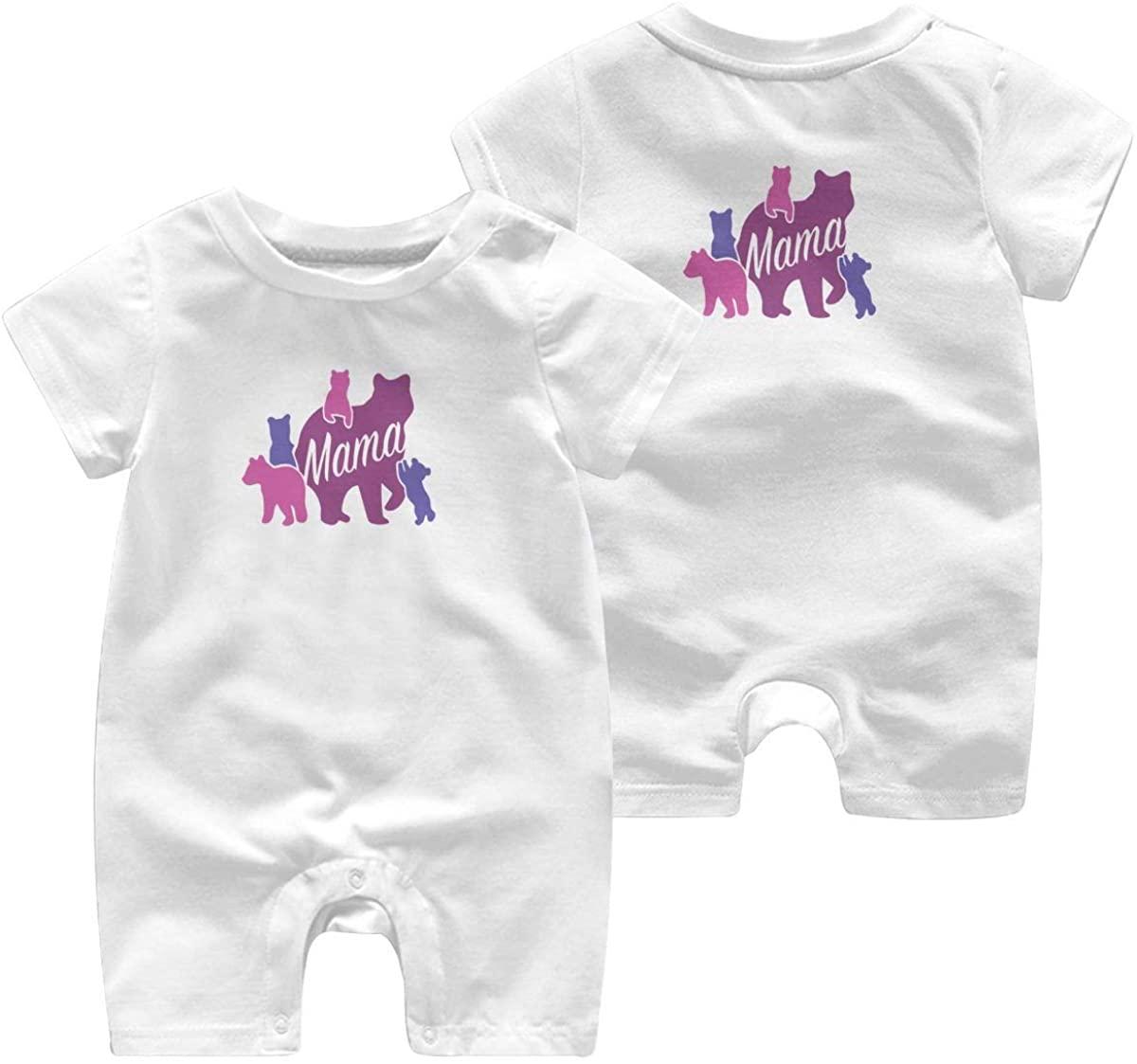 Mama Bear Leisure Baby Short Sleeve Jumpsuit Kid Breathable Baby Pajama Sleeper Cotton Romper