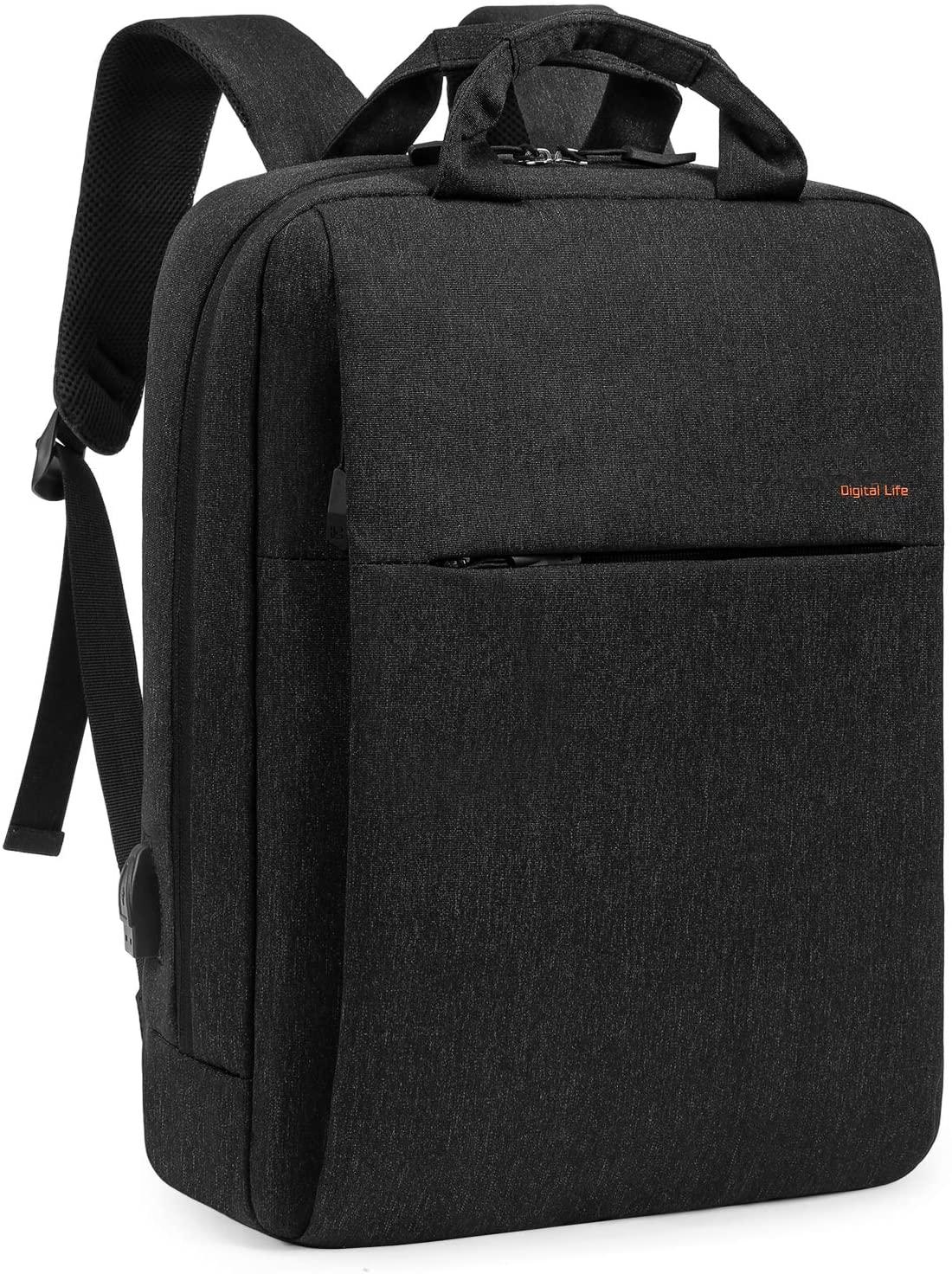 Laptop Backpack 15.6 Inch, Business Lightweight Backpack with USB Charging Port Water Resistant Computer Bag College Backpack Rucksack Bookbag Slim Travel Backpack Casual Daypack for Men Women, Black