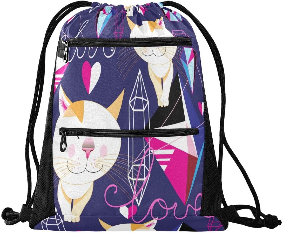 Drawstring Backpack Sport Gym Sackpack - Cat Love Drawstring Bag with Zipper Pocket Sinch Sack Sport Backpack for Shopping Beach