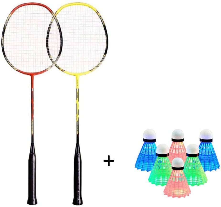 Senston LED Badminton Shuttlecocks 6 Pack; 2 Pack Carbon Fiber Shaft Badminton Rackets
