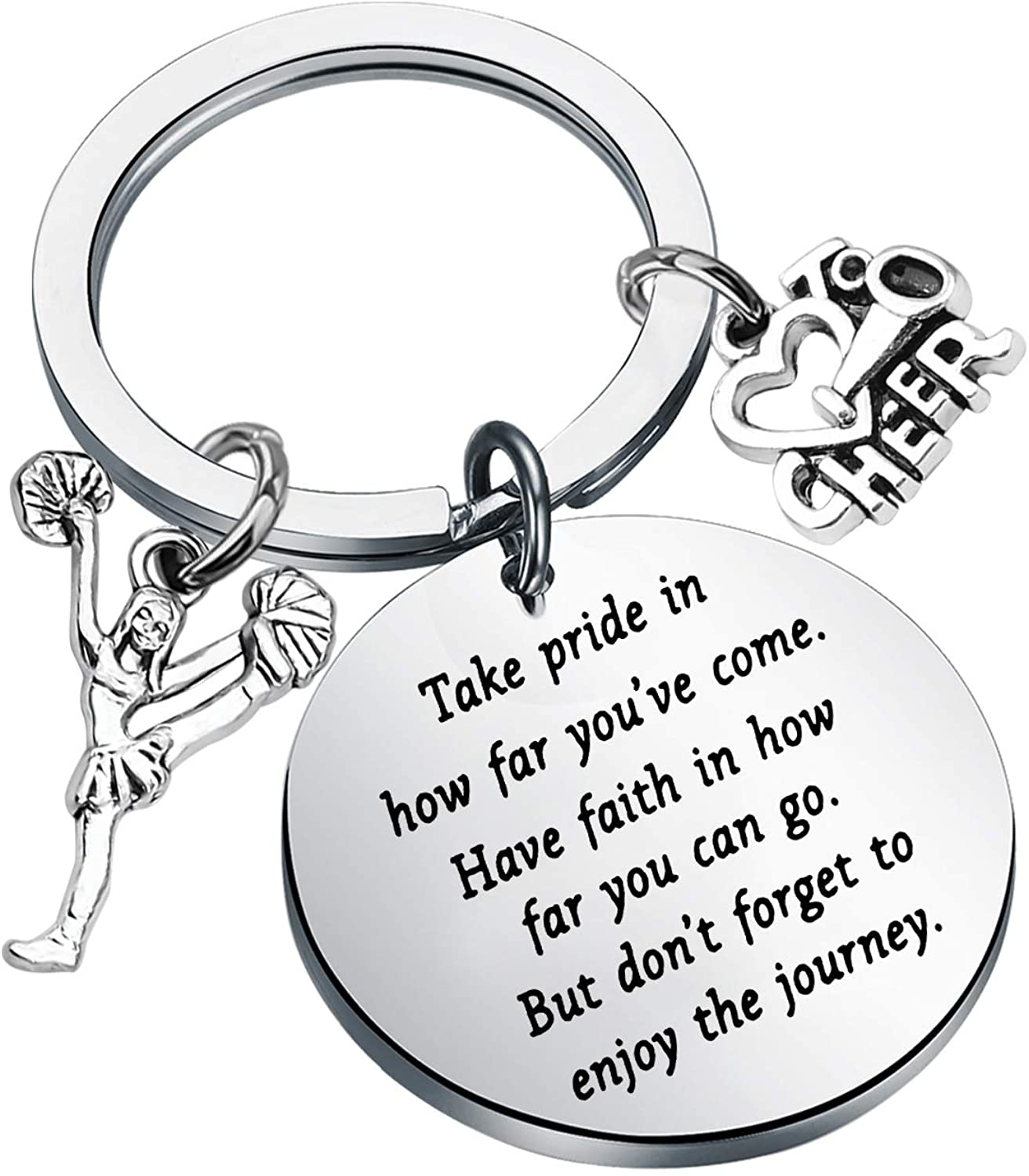 FUSTMW Cheer Keychains Cheerleading Gifts Cheerleader Coaches Gift Cheer Team Gift Cheer Jewelry for Girls Cheerleading Charms Inspiration Gifts Take Pride in How for You are Come