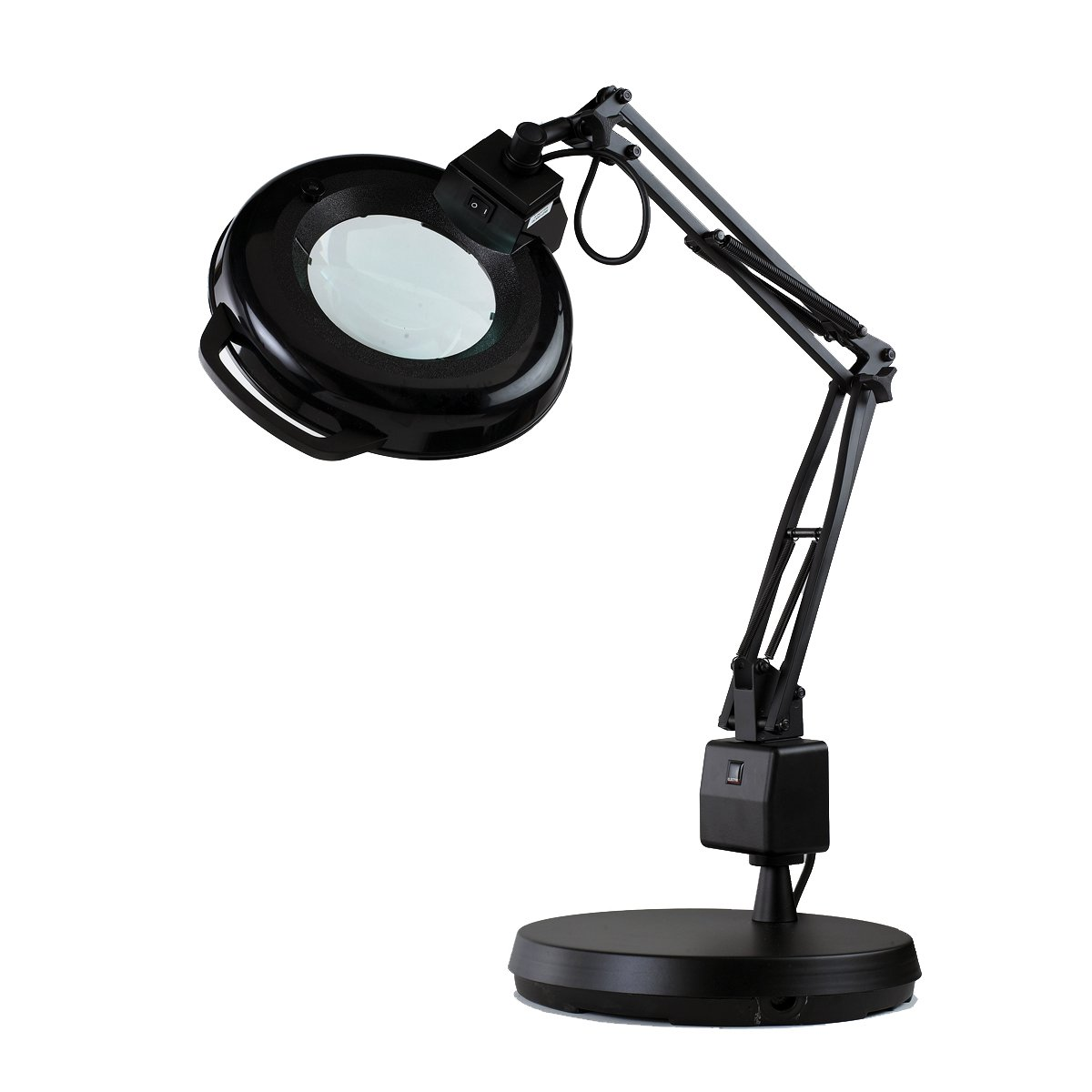 Electrix 7125 BLACK Magnifier Lamp, Fluorescent, Weighted Base Mounting, 3-Diopter, 30