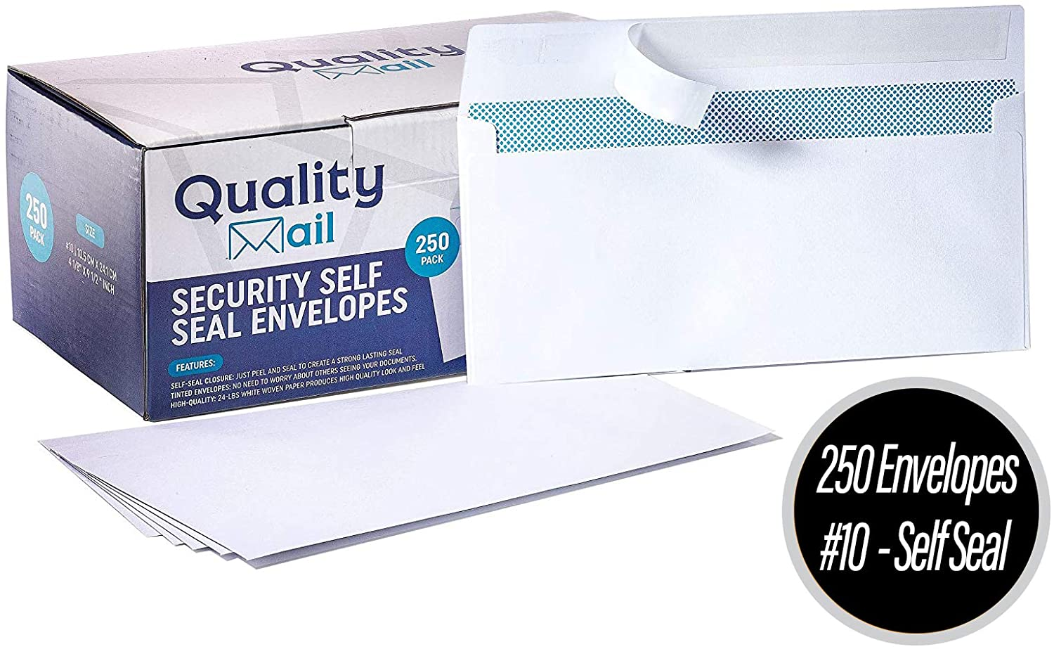 White Envelopes, Number 10, Self-Seal, Security Tinted Envelope, no Moisture Required - no Window - Ideal for Home, Office Secure Mailing - Quick-Seal Closure - 4-1/8 x 9-1/2 Inches
