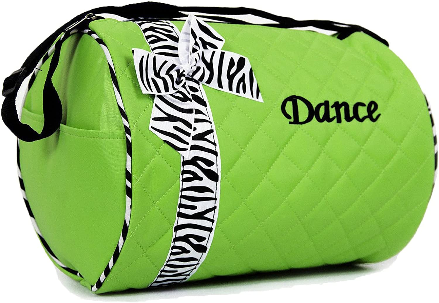 Private Label Girl's Quilted Nylon Dance Duffel Bag (Green with Zebra Bow)