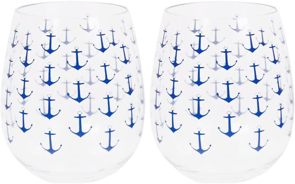 Set of 2 Boat Anchor Shatter-Resistant Stemless Wine Glasses 18 oz. Clear