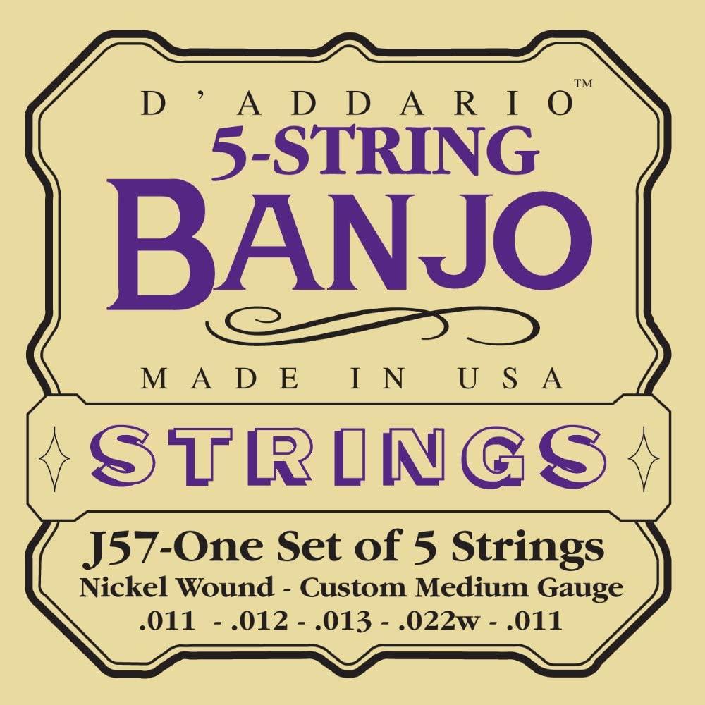 D'Addario J57 5-String Banjo Strings, Nickel, Custom Medium, 11-22