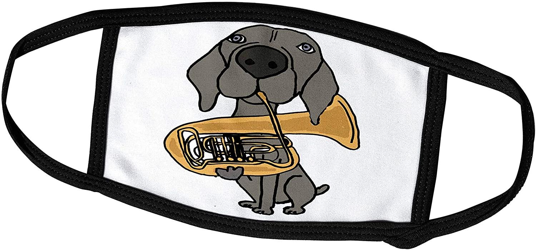 3dRose All Smiles Art Music - Funny Cool Weimaraner Dog Playing Tuba Cartoon - Face Masks (fm_265066_2)
