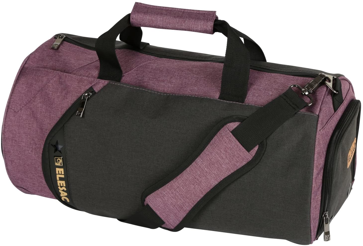 EleSac Canvas Style Round Gym Bag with Shoe Compartment for Men and Women, Sports Travel Duffel (Black-Purple Large)