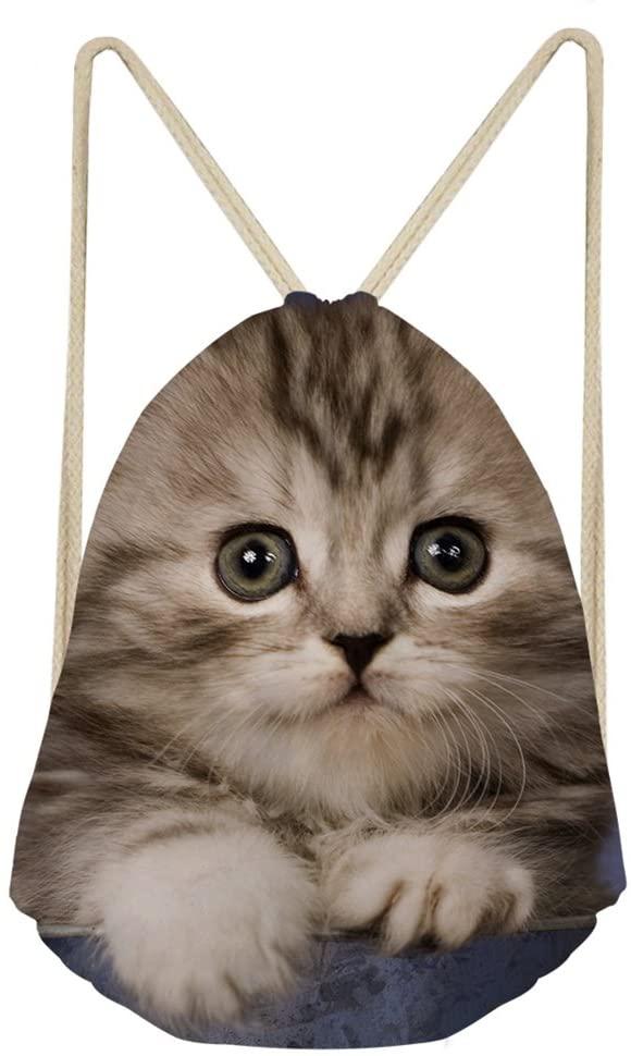 Sannovo One Pack Tabby Cat Basketball Gym Bags Drawstring Storage Pouch Sand Beach Bag