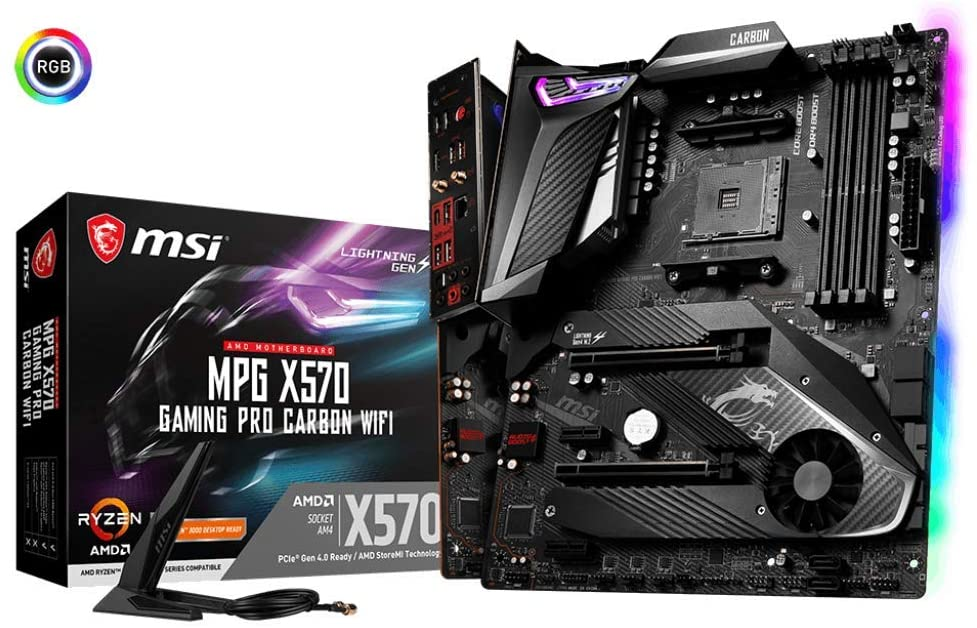 MSI MPG X570 GAMING PRO CARBON WIFI Motherboard (AMD AM4, DDR4, PCIe 4.0, SATA 6Gb/s, M.2, USB 3.2 Gen 2, AX Wi-Fi 6, HDMI, ATX)