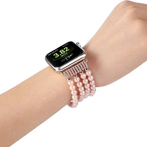 ANGELL Exquisite Compatible with Luxury Ladies Watch Apple Watch strap1 2 3 Wrist Band Hand Made by Jewelry Bracelet for Apple Watch Series Strap Unisex Smart Watch Strap (Color : Pink, Size : 42mm)