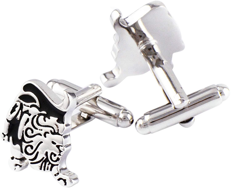 KnSam Cuff Links Copper Cuff Links Silver Leo