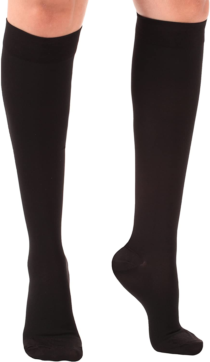 Absolute Support Short Length Medical Compression Stockings (Medium, Black)