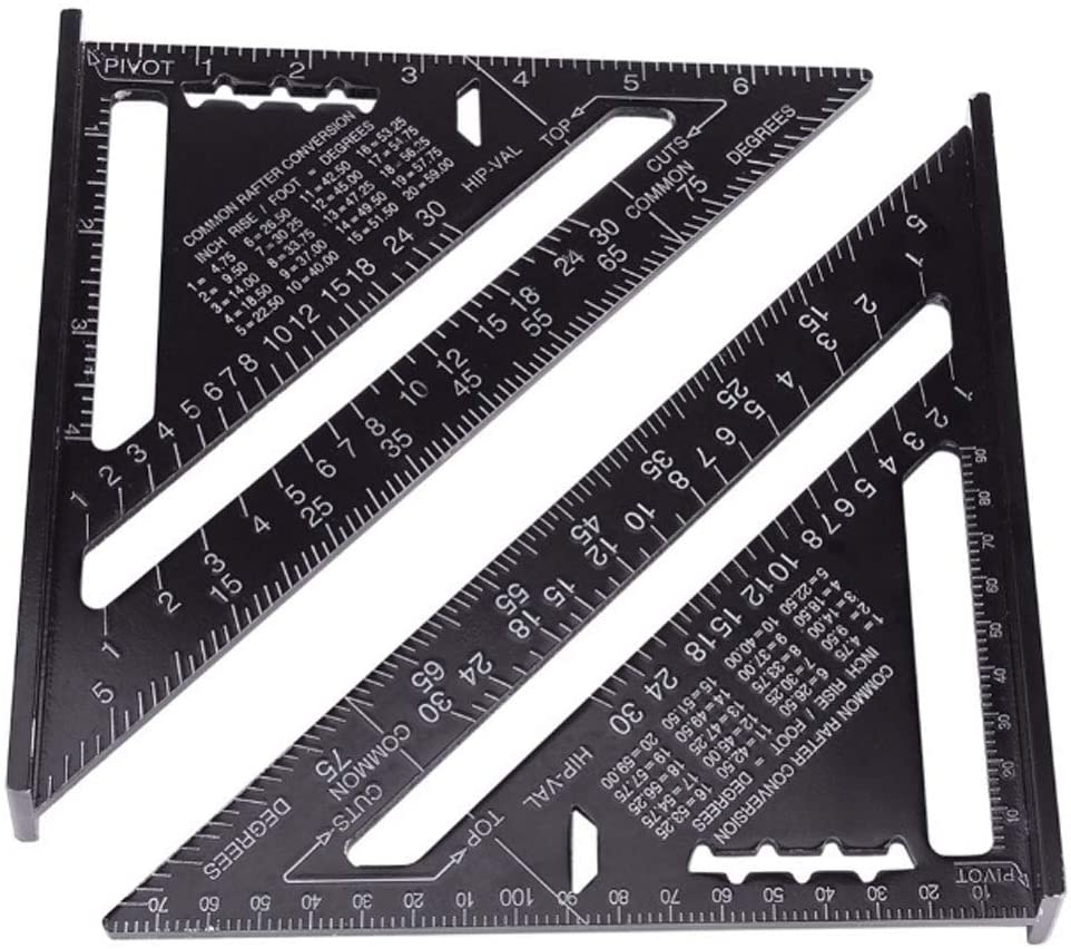 Lheng Speed Square Layout Tool 7 Inch 180mm Metric Imperial Aluminum Alloy Triangle Rafter Angle Ruler for Woodworking Black