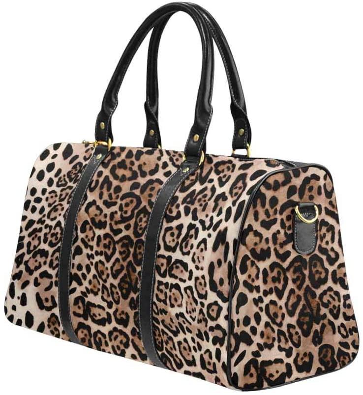 InterestPrint Unisex Duffel Bag Carry-on Bag Overnight Bag Weekender Bag Hot Leopard Skin Background