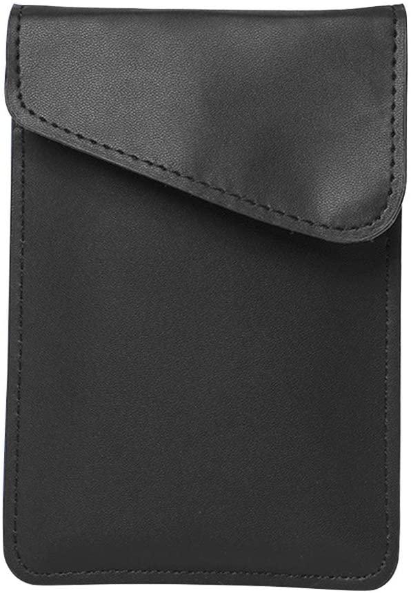 DENPETEC Faraday Bag Anti-Radiation, Faraday Cage Protector Anti-Radiation, Car Signal Blocking Fit for Less Than 5.5inch Phone Anti-Theft Pouch, Anti-Hacking Case Blocker (Black Metal Fiber
