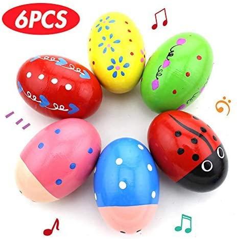 POPLAY 6 PCS Wooden Percussion Musical Egg Maracas Egg Shakers Halloween Props Random Pattern