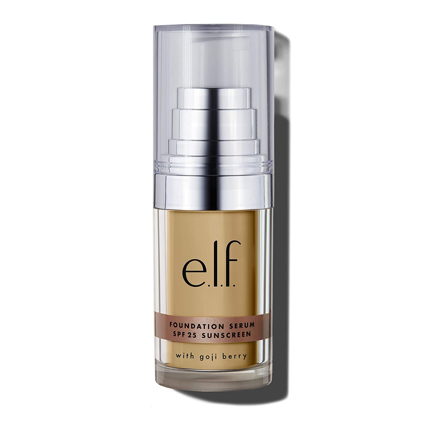 e.l.f, Beautifully Bare Foundation Serum SPF 25, Luminous, Lightweight, Sheer Coverage, Minimizes Pores & Fine Lines, Brightens, Restores, Light/Medium Dewy Finish, For All Skin Types, 0.47 Fl Oz