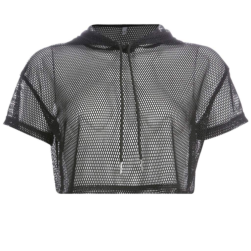 Women Blouse and Tops, Women Summer Short Sleeve Hollow Out Mesh Sweatshirt Solid Hoodie Pullover Top Black M, Tops for Women Sexy Elegant