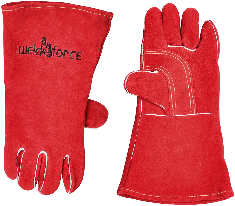 WeldForce TIG/MIG Welding Gloves Woven Fleece Lining, Red, One size
