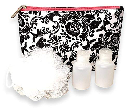 Women Pink Trim Parisian Damask Cosmetic Pouch with Accessories