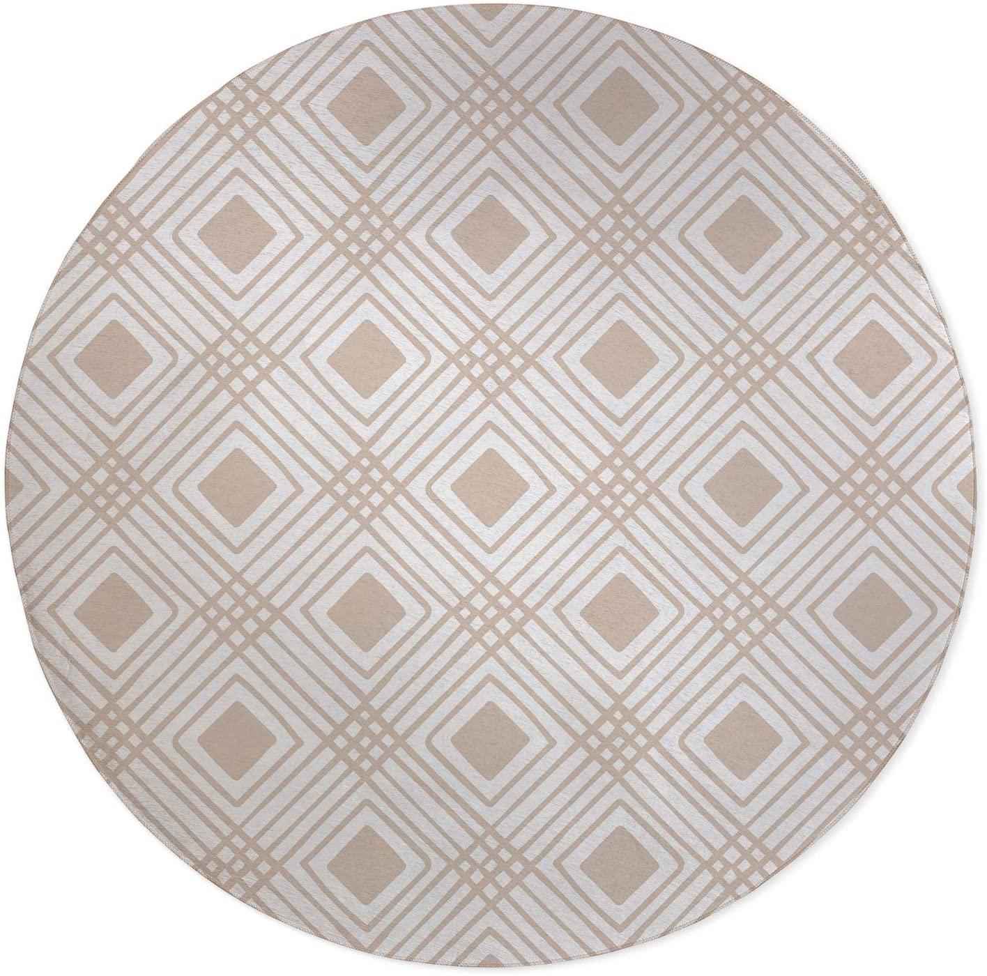 Criss Cross Diamonds Tan Office Mat Beige Modern Contemporary Synthetic Fiber