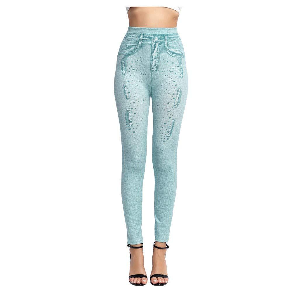 Women Fashion Leggings Denim Print Jeggings Fake Jeans High Waist Hip Pants Full Length