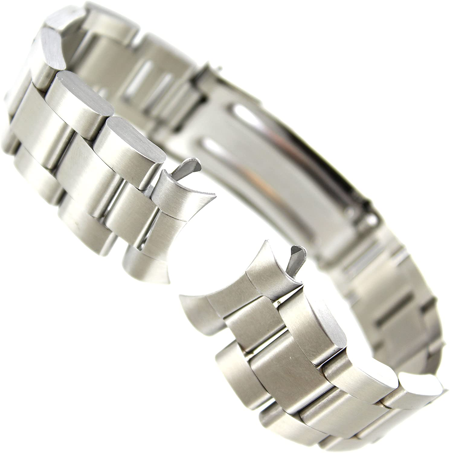 21mm Milano Curved End Semi Solid Stainless Steel Safety Deployment Watch Band
