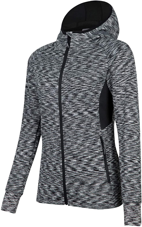 BEROY Women Dri-fit Workout Jacket, Zip Up Stretchy Active Raglan Running Jacket Coat