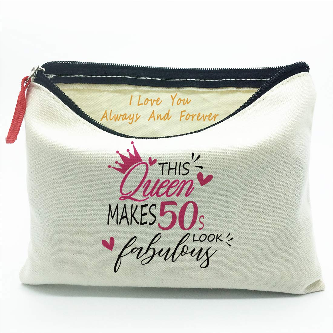50th - 59th Birthday gift,Queen makes 50s fabulous,Gifts for Women,Canvas Makeup Cosmetic Bag,50-59 Year Old Presents,Gift for Mom Grandma Wife Lady