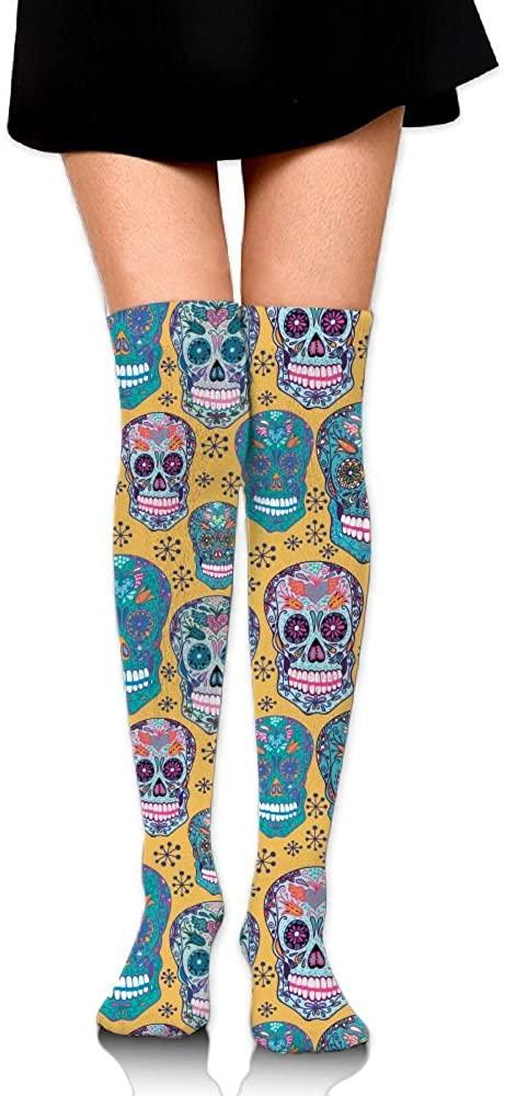 Tailing Blue Skull Unisex Athletic Knee High Protective Long Socks Stockings
