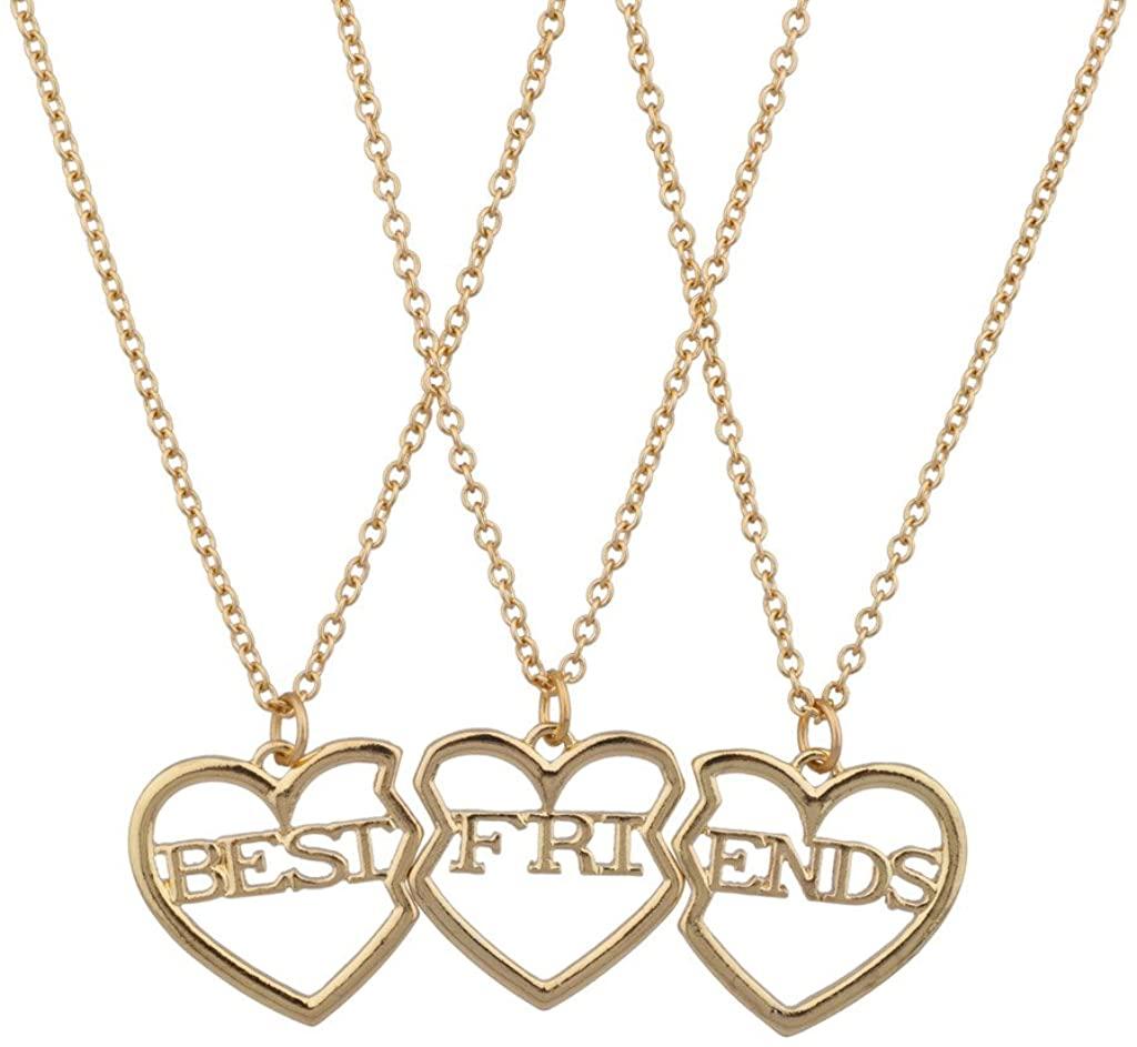Lux Accessories Best Friends BFF Broken Heart Necklace Trio Set