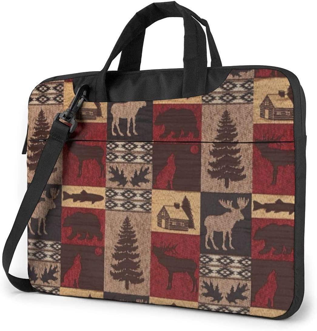 Lodge Bear Deer Fish Printed Laptop Bag,Business Briefcase