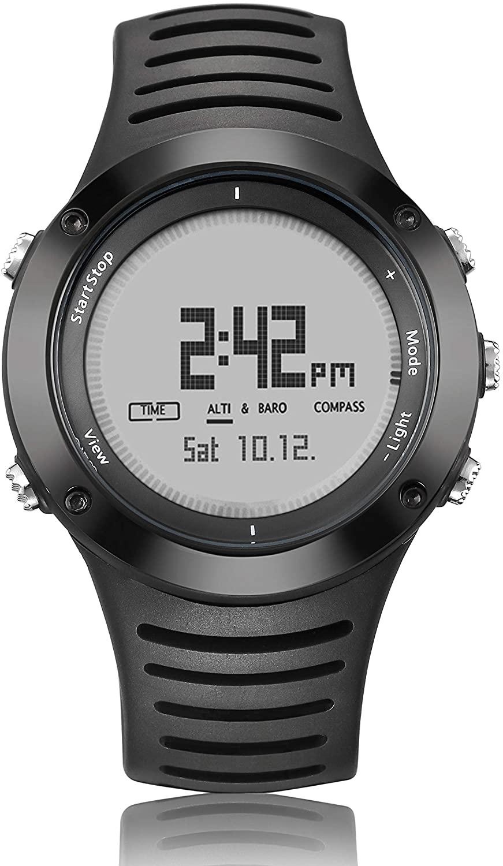 HXHH Multi-Function Sports Mountaineering Smart Watch, Waterproof Outdoor Swimming Running Compass Altitude Pressure Watch,Whitebackground