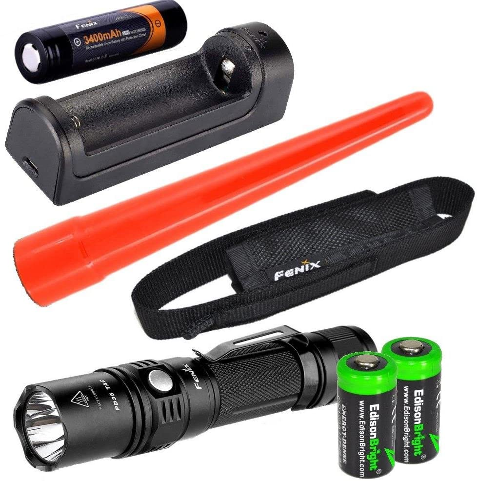 Fenix PD35 2015 TAC Edition 1000 Lumen CREE LED Tactical Flashlight w/ARB-L2S Rechargeable Battery, are-X1 Charger, Holster, AOT-S Traffic Wand & 2X EdisonBright CR123A Lithium Batteries Bundle