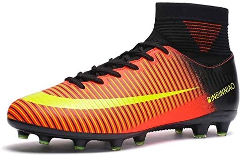 Linmatealliance Outdoor&Sports Outdoor&Sports Shoes High Top Non-Slip Wearable and Comfortable Football Boots Soccer Cleats for Men, Shoe Size:8(Long Spikes Black) (Color : Long Spikes Black Orange)