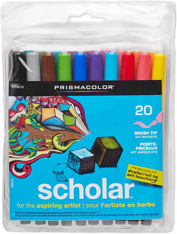 Prismacolor 1774270 Scholar Art Markers, Brush Tip, Assorted, 20-Count