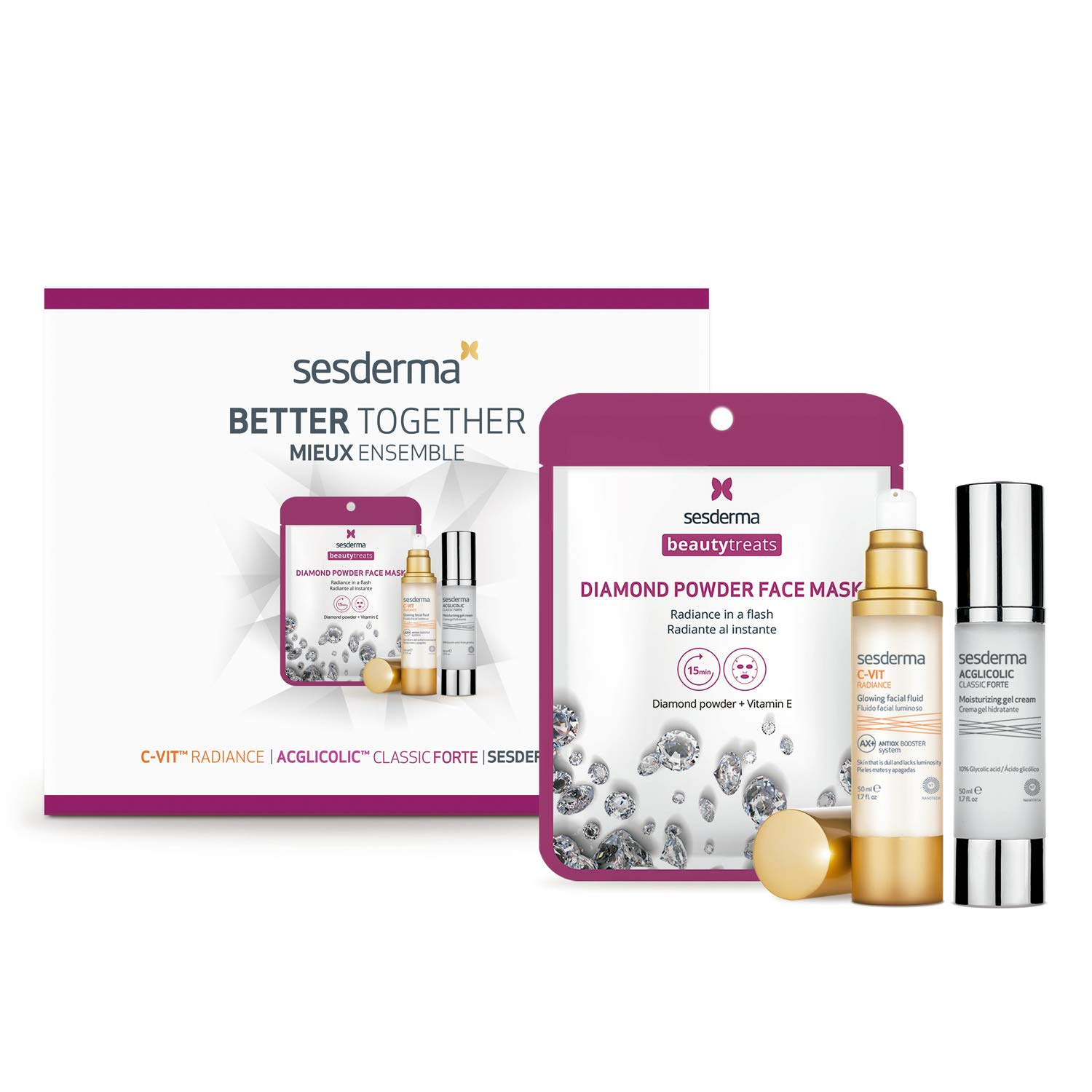 Sesderma Valentine's Promo Pack C-VIT RADIANCE Glowing Fluid 1.7 fl. Oz + ACGLICOLIC CLASSIC FORTE Gel Cream 1.7 fl. Oz + BeautyTreats DIAMOND POWDER Facial Mask 0.75 fl. Oz, 4.15 fl. oz.