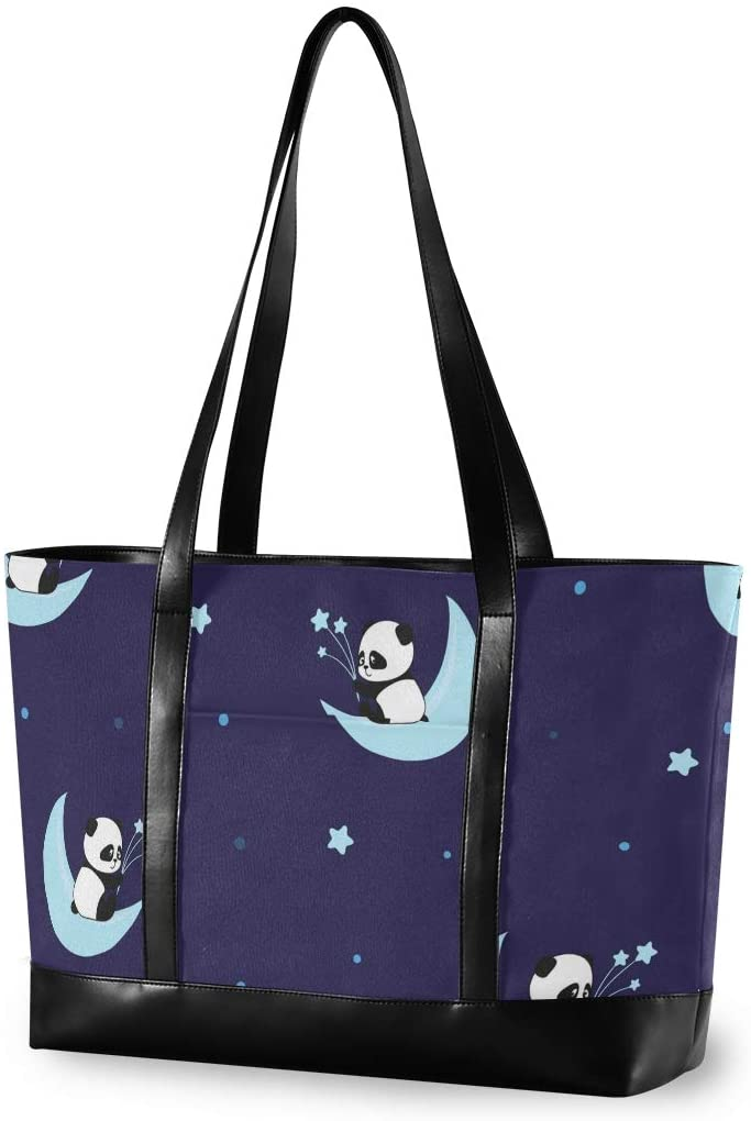 Panda Moon Laptop Tote Bag,Fits 15.6 Inch Laptop,Womens Lightweight Canvas Leather Tote Bag Shoulder Bag(l)