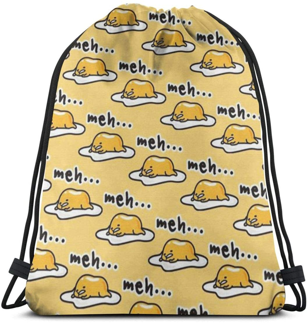 Drawstring Bags Gudetama Cute Storage Pouch Bag Drawstring Backpack Bag Washable Dust-Proof Breathable Non-Transparent Travel Sport Gym Sackpack For Men Women