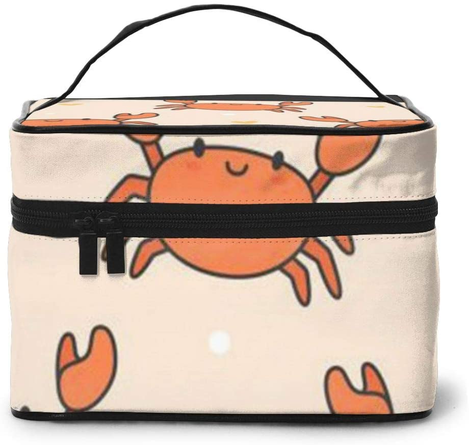Large Cometic Travel Bag,Orange Crab Portable Travel Toiletry Bag Cosmetic Make Up Organizer For Women And Girls